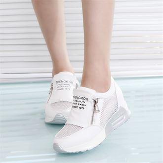 2016夏季新款透气网鞋韩版内增高女鞋厚底坡跟双拉链运动休闲鞋潮